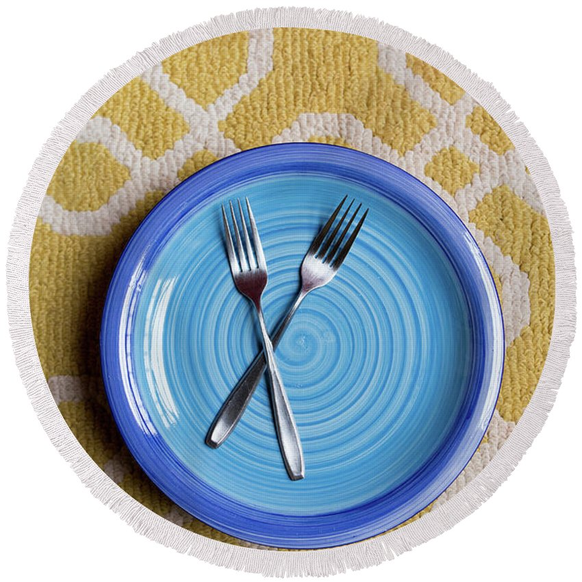 Table Round Beach Towel featuring the photograph Blue Plate Special by Edward Fielding