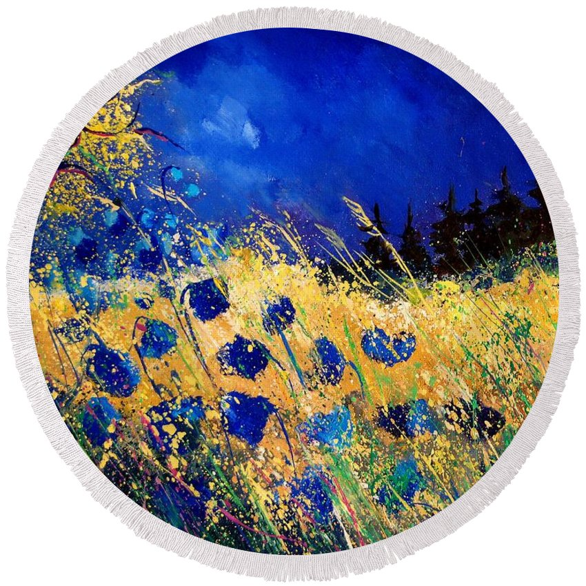 Flowers Round Beach Towel featuring the painting Blue Poppies 459070 by Pol Ledent