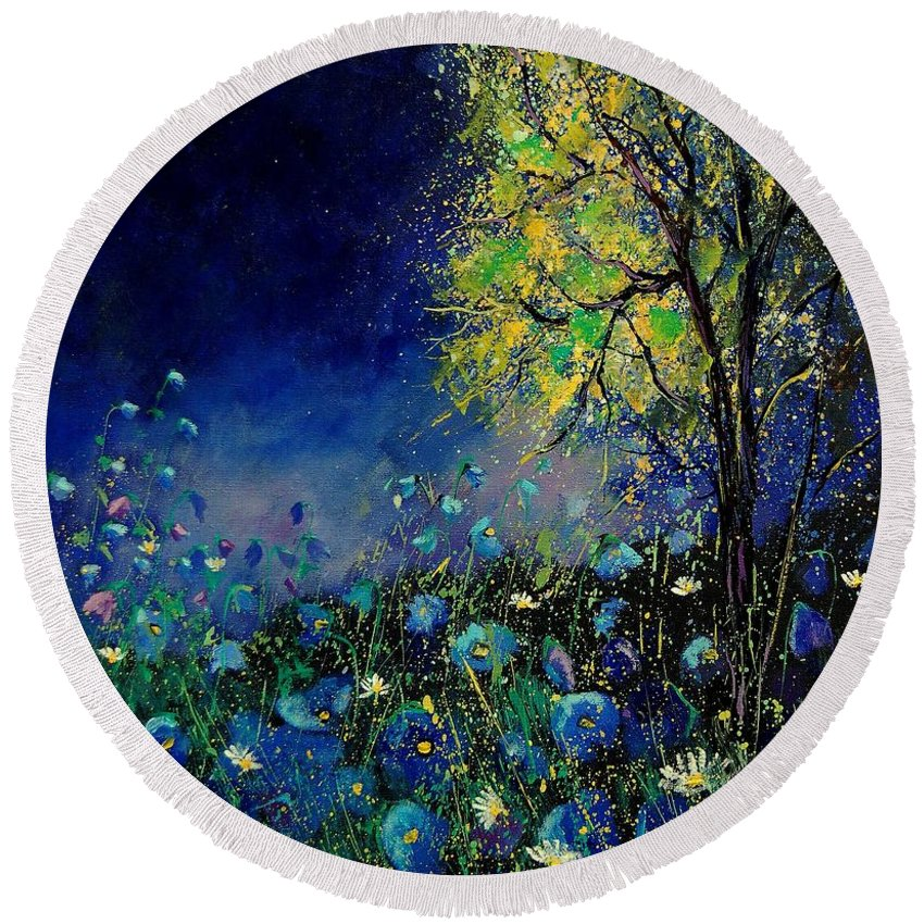 Flowers Round Beach Towel featuring the painting Blue Poppies And Diasies 67 by Pol Ledent