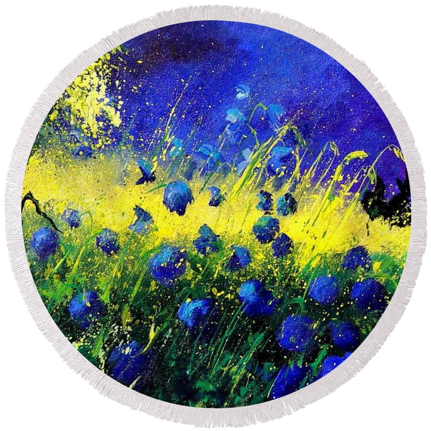 Flowers Round Beach Towel featuring the painting Blue Poppies by Pol Ledent