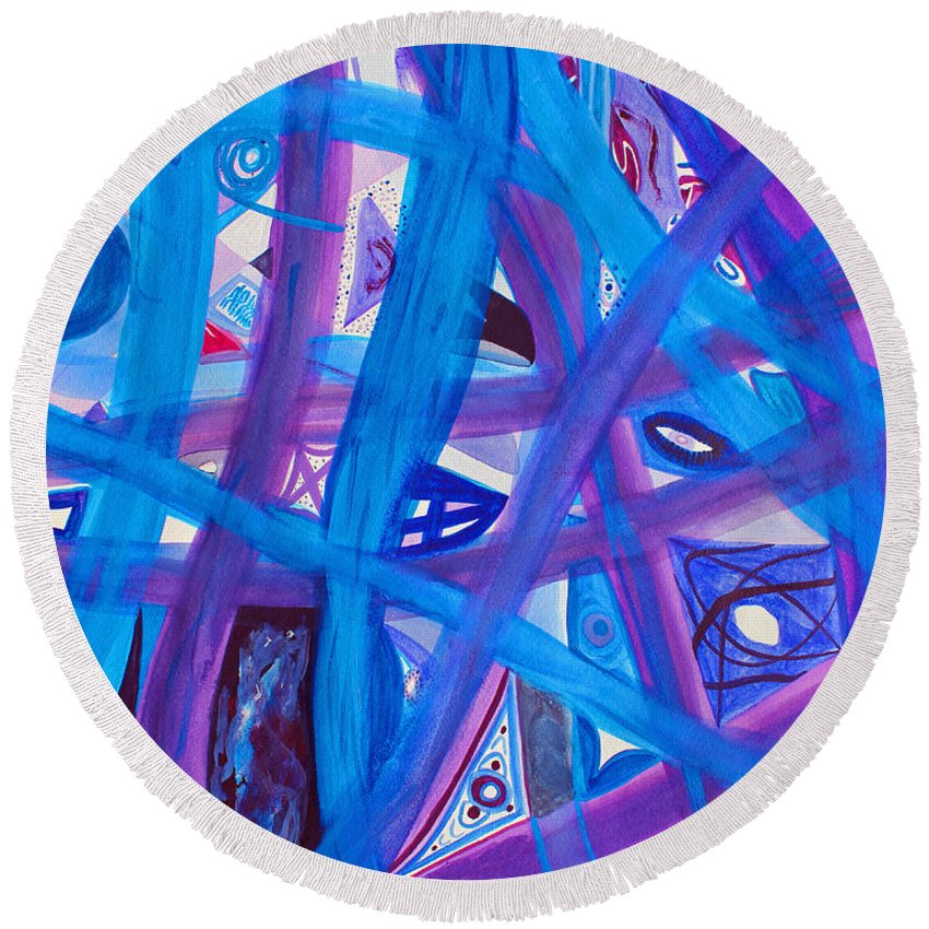 Abstract Round Beach Towel featuring the painting Blue Purple Paths by Lee Serenethos