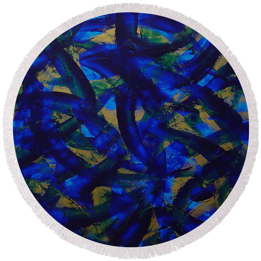 Abstract Round Beach Towel featuring the painting Blue Pyramid by Dean Triolo