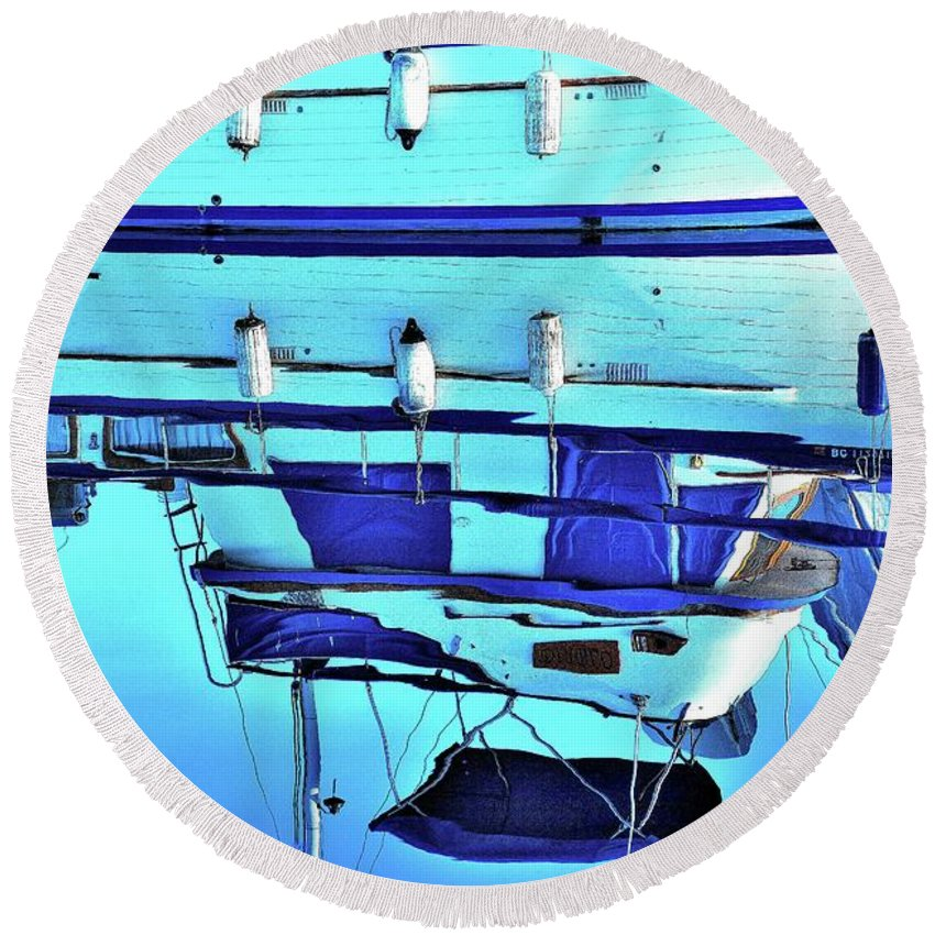 Boats Nautical Water Ocean Fishing Black White Hull Dock Wharf Fish Nets Buoys Gear Hook Wave  Round Beach Towel featuring the photograph Blue Reflection by G A Fuller Photography