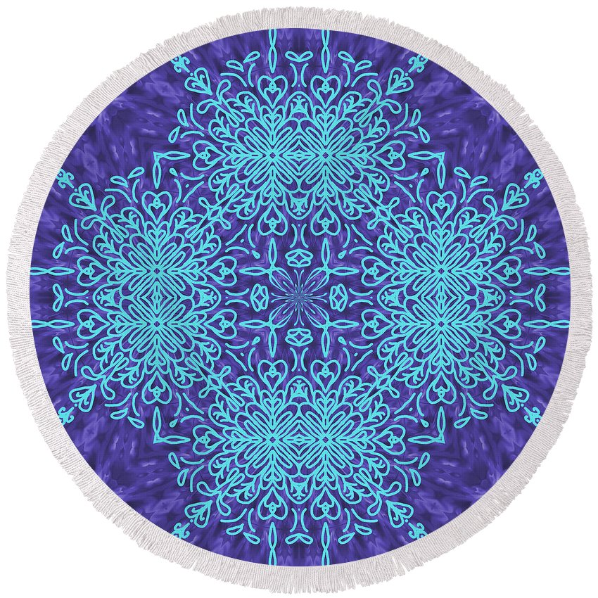 Pattern Round Beach Towel featuring the digital art Blue Resonance by Lena Photo Art