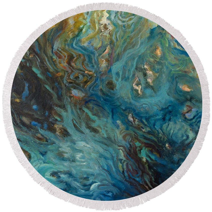 Marine Round Beach Towel featuring the painting Blue by Rick Nederlof