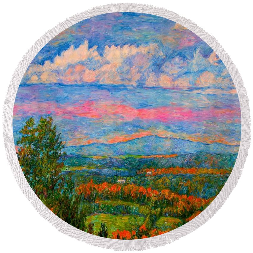 Mountains Round Beach Towel featuring the painting Blue Ridge Cloud Burst by Kendall Kessler