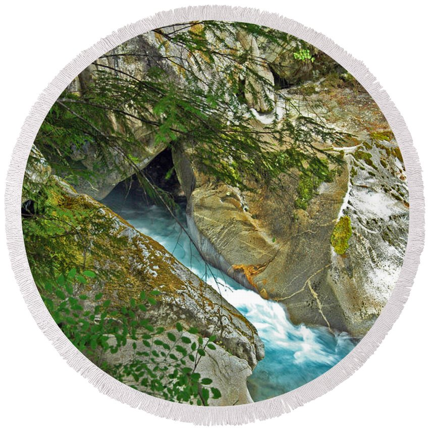 River Bed Round Beach Towel featuring the photograph Blue River by George E Richards