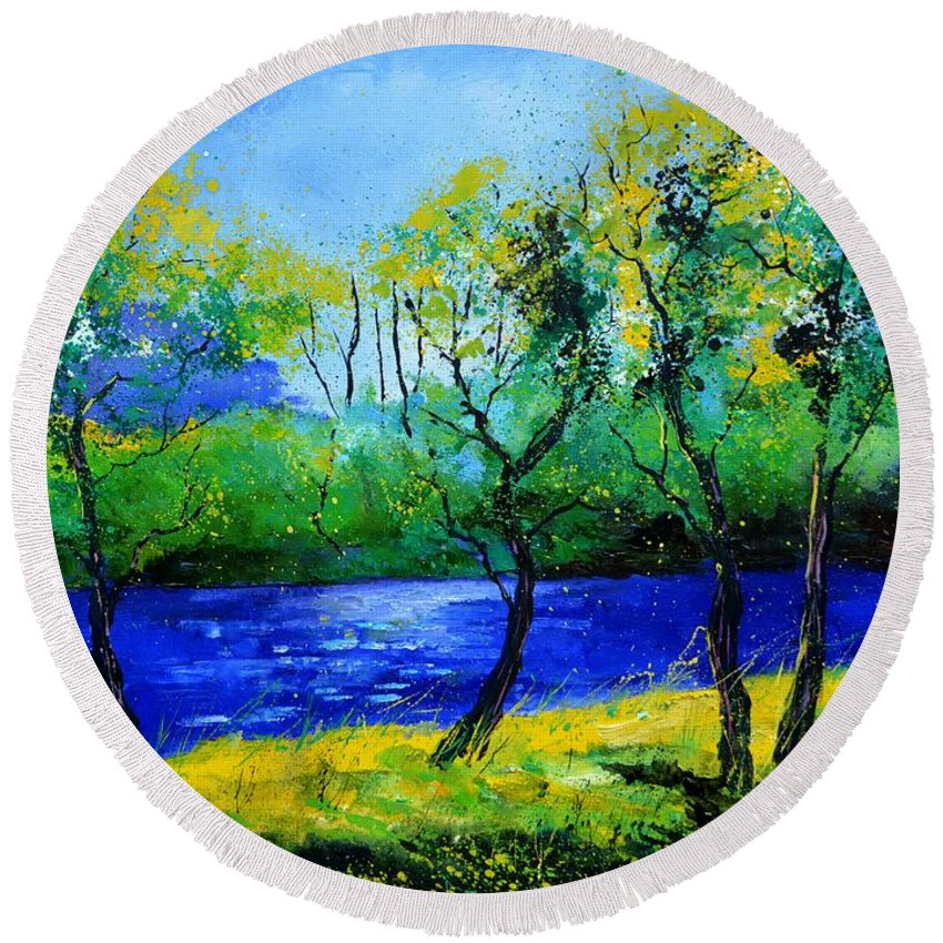 Landscape Round Beach Towel featuring the painting Blue river by Pol Ledent