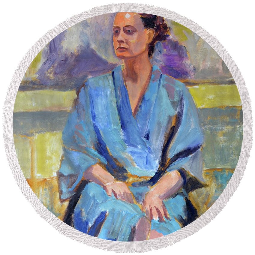 Figure Round Beach Towel featuring the painting Blue Robe by Keith Burgess