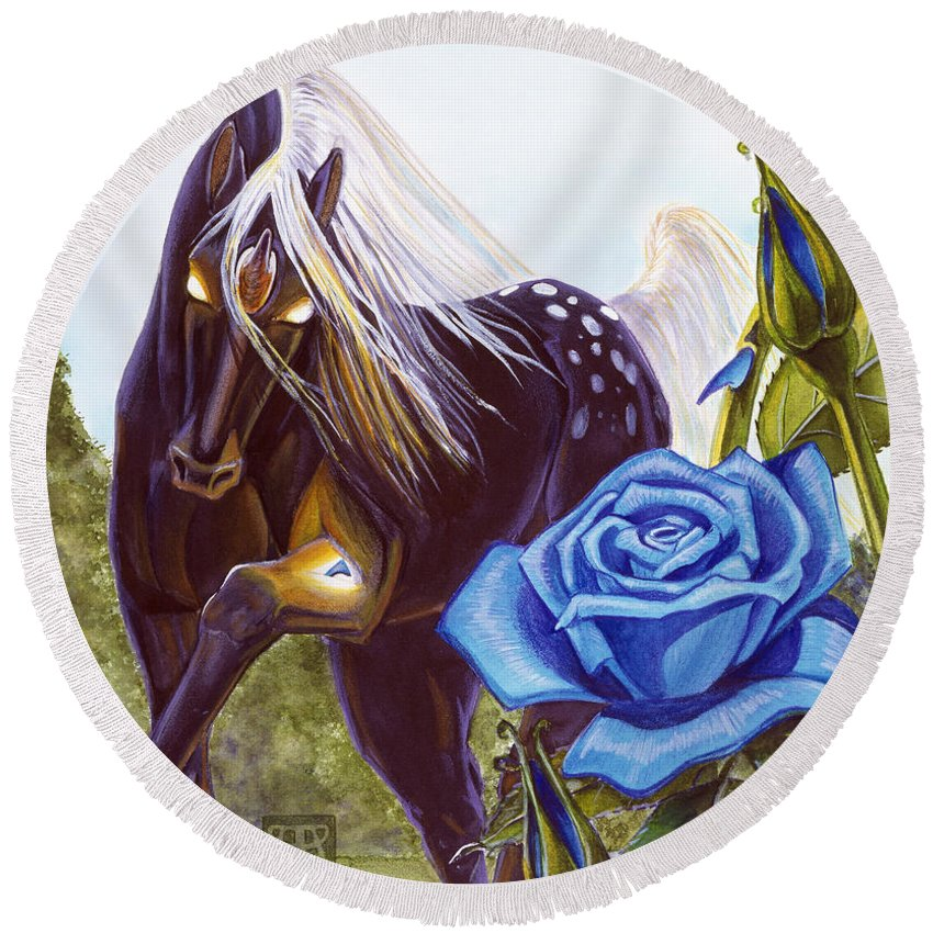 Unicorn Round Beach Towel featuring the drawing Blue Rose Unicorn by Melissa A Benson