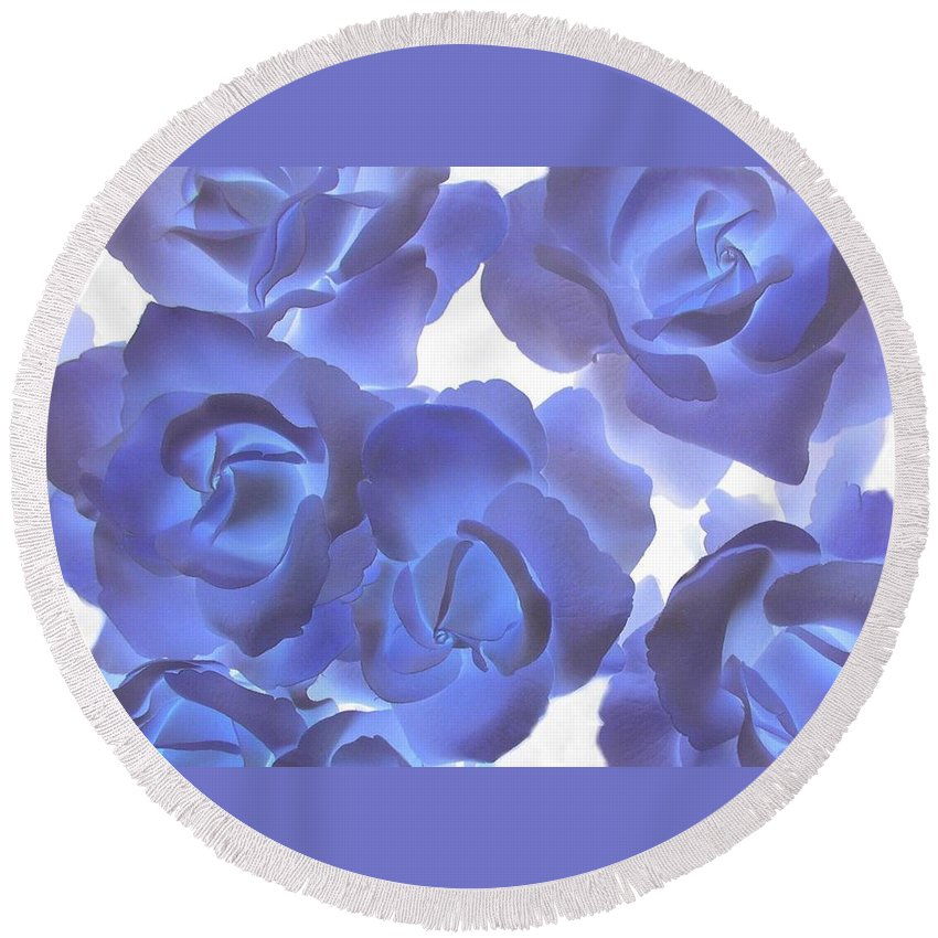 Blue Round Beach Towel featuring the photograph Blue Roses by Tom Reynen