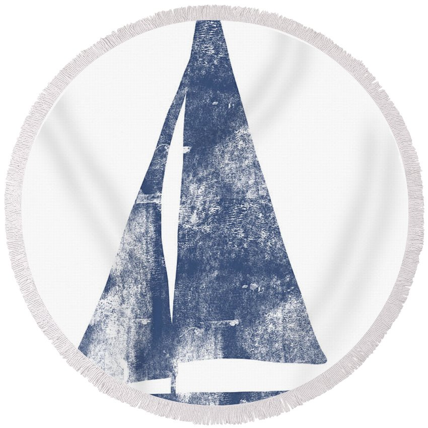 Boat Round Beach Towel featuring the painting Blue Sail Boat- Art By Linda Woods by Linda Woods