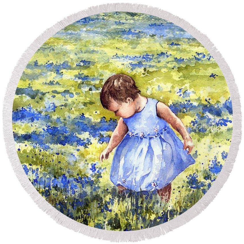 Blue Round Beach Towel featuring the painting Blue by Sam Sidders
