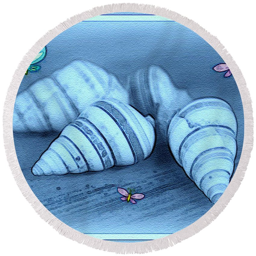 Shell Art Round Beach Towel featuring the photograph Blue Seashells by Linda Sannuti