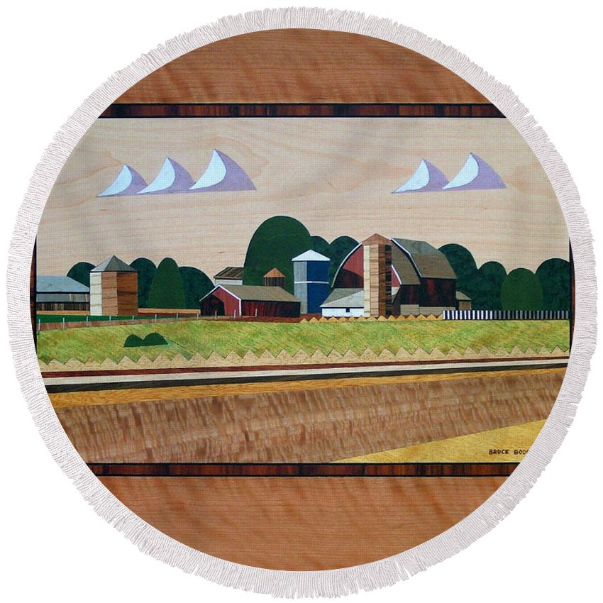 Farm Round Beach Towel featuring the painting Blue Silo-marquetry by Bruce Bodden
