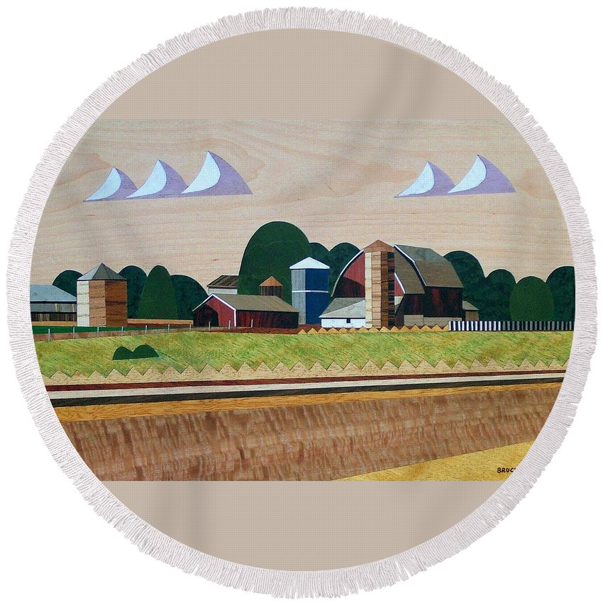 Bruce Bodden Round Beach Towel featuring the painting Blue Silo-marquetry-image by Bruce Bodden