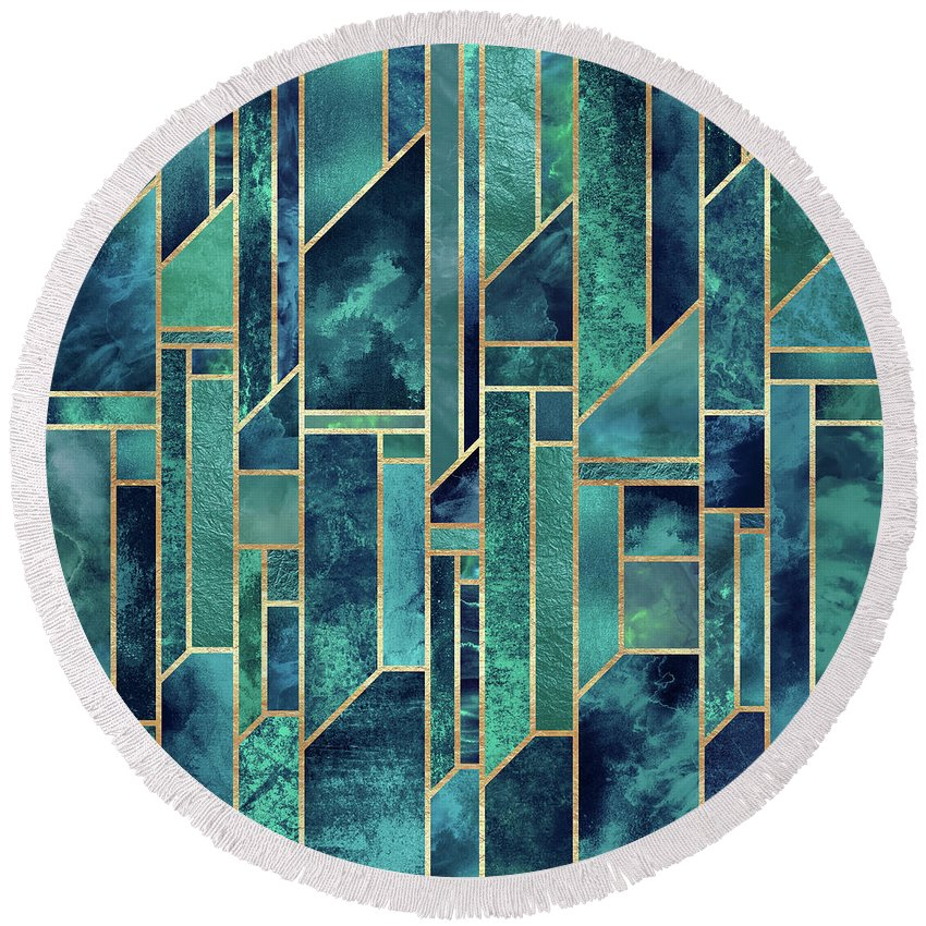Graphic Round Beach Towel featuring the digital art Blue Skies by Elisabeth Fredriksson