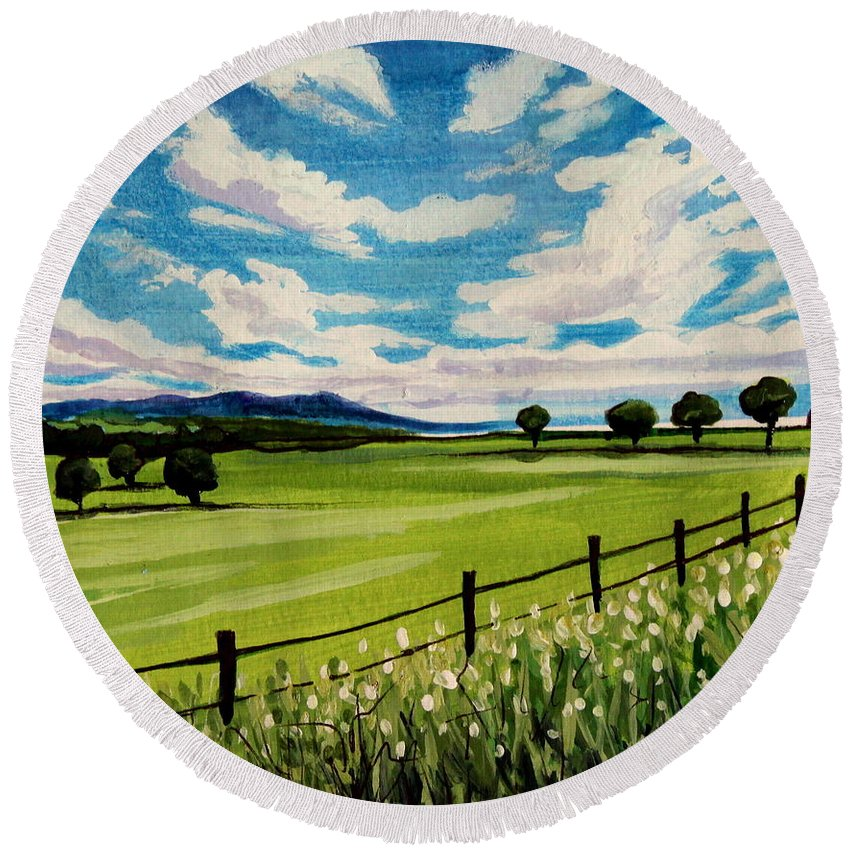 Landscape Round Beach Towel featuring the painting Blue Skies by Elizabeth Robinette Tyndall
