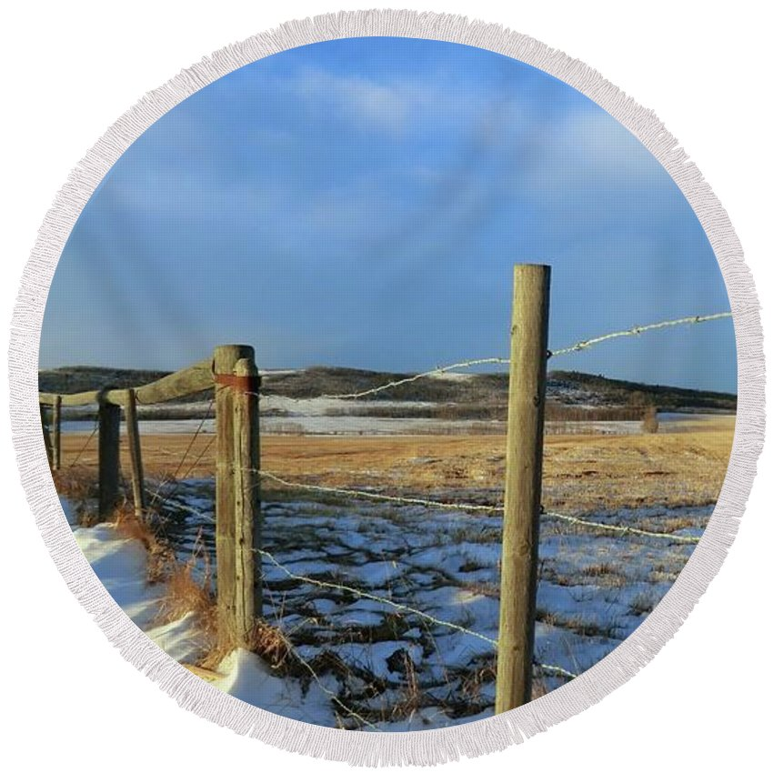 Fence Line Round Beach Towel featuring the photograph Blue Sky Fence Line by Jor Cop Images