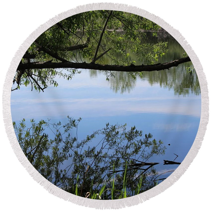 Reflection Round Beach Towel featuring the photograph Blue Sky Reflection by LKB Art and Photography