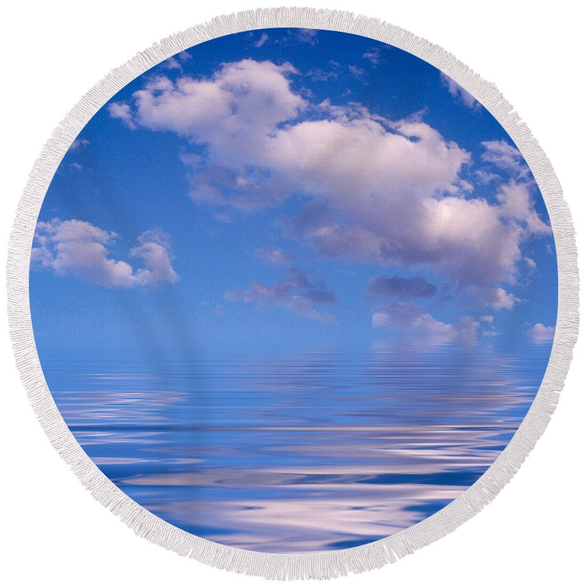 Original Art Round Beach Towel featuring the photograph Blue Sky Reflections by Jerry McElroy