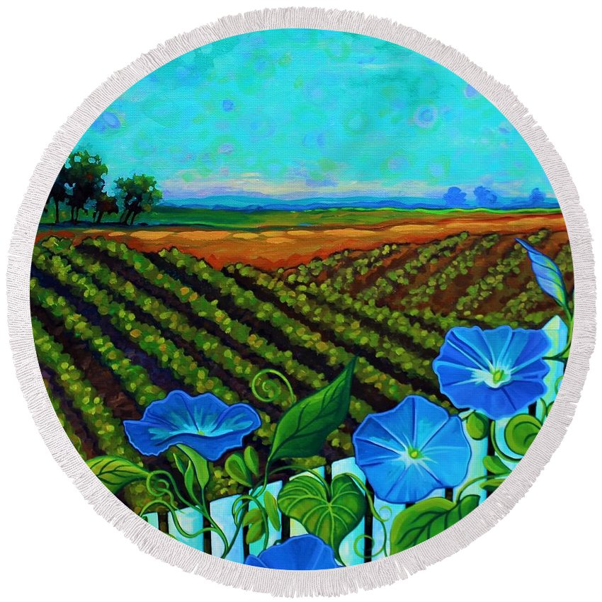 Blue Round Beach Towel featuring the painting Blue Sky Smiling by Peggy Davis