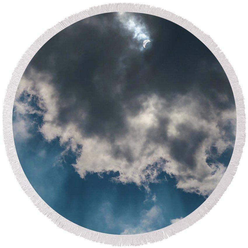 Sun Round Beach Towel featuring the photograph Blue Sky Solar Eclipse by Krystal Billett