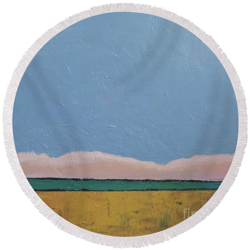 Abstract Landscape Round Beach Towel featuring the painting Blue Sky by Vesna Antic