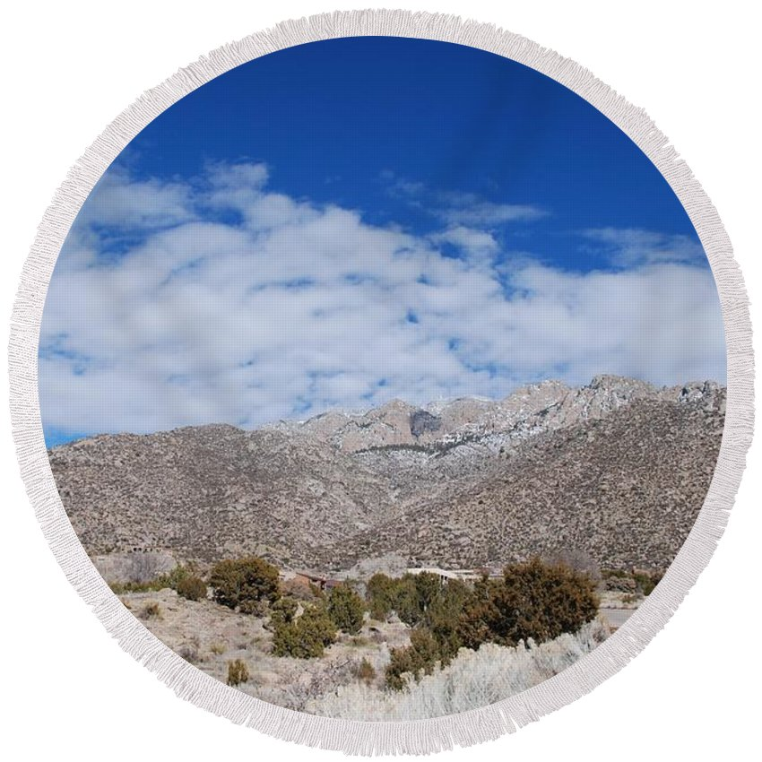 Sandia Mountains Round Beach Towel featuring the photograph Blue Skys Over The Sandias by Rob Hans