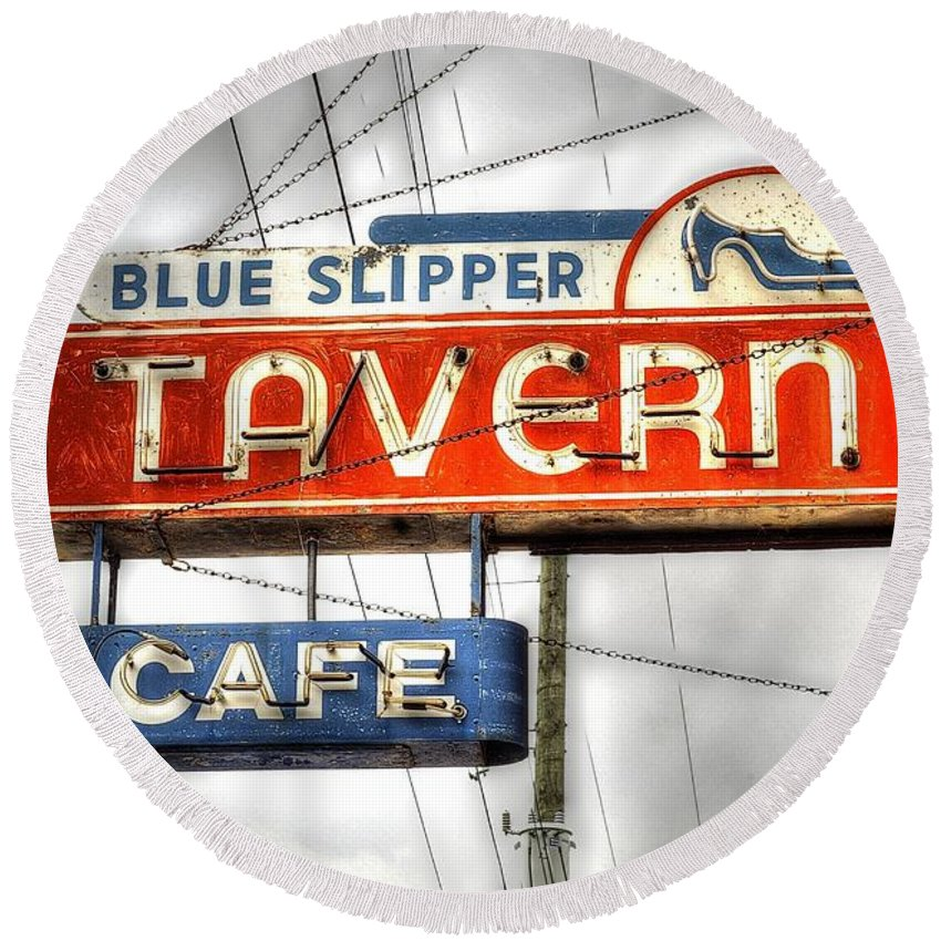 Tavern Round Beach Towel featuring the photograph Blue Slipper by Randy Pollard