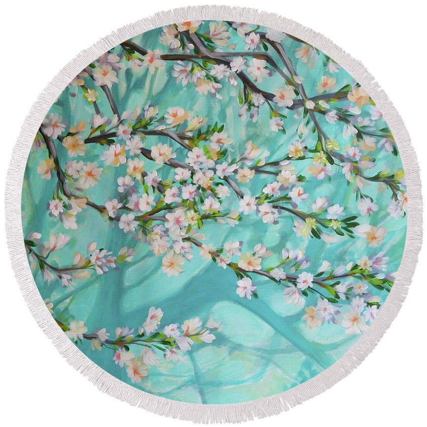 Nature Round Beach Towel featuring the painting Blue Spring by Norbert David