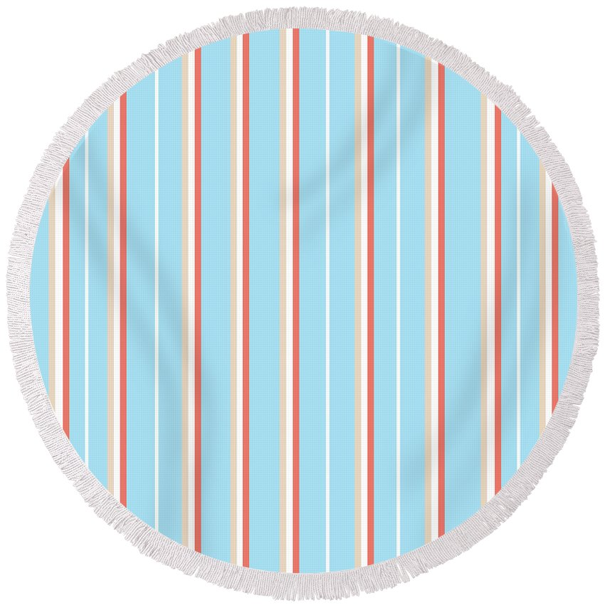Light Mixed Media Round Beach Towels