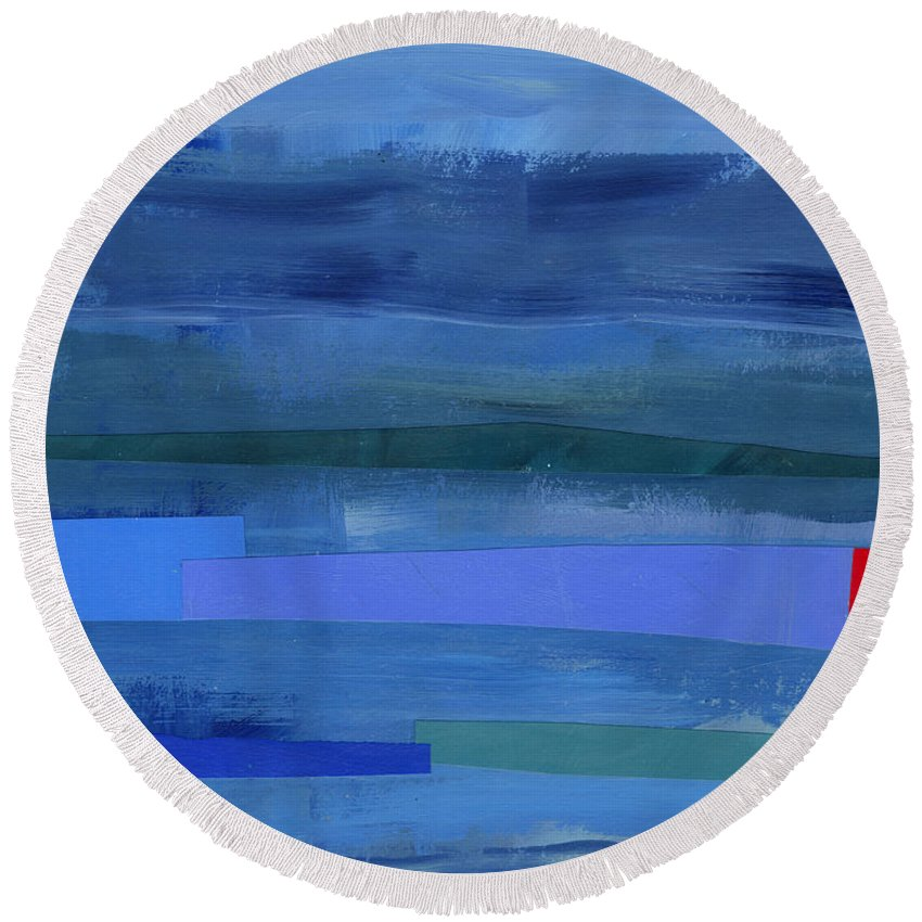 Abstract Art Round Beach Towel featuring the painting Blue Stripes 1 by Jane Davies