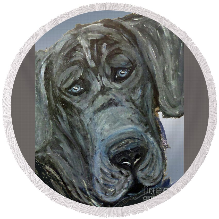 Great Dane Dog Round Beach Towel featuring the painting Blue Study by Ania M Milo