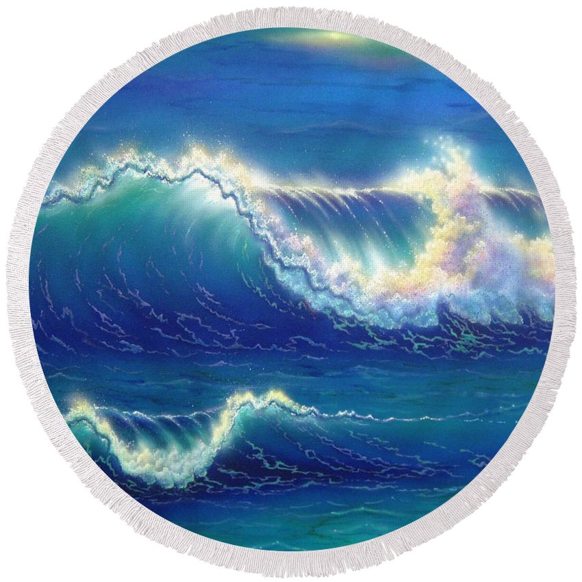Seascape Round Beach Towel featuring the painting Blue Thunder by Angie Hamlin