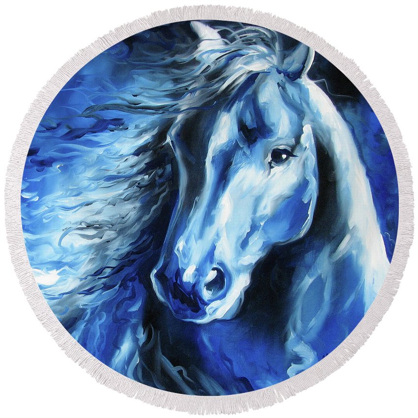 Horse Round Beach Towel featuring the painting Blue Thunder by Marcia Baldwin