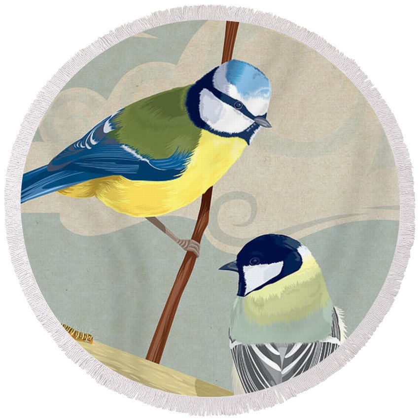 British Round Beach Towel featuring the digital art Blue Tit And Great Tit by Carl Conway