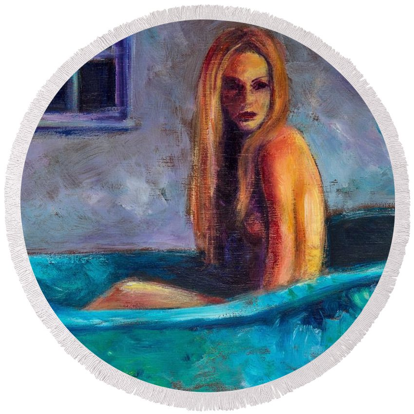 Nude Round Beach Towel featuring the painting Blue Tub Study by Jason Reinhardt