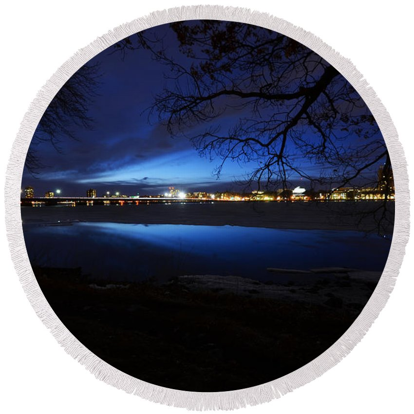 Boston Round Beach Towel featuring the photograph Blue Twilight Over The Charles River by Toby McGuire