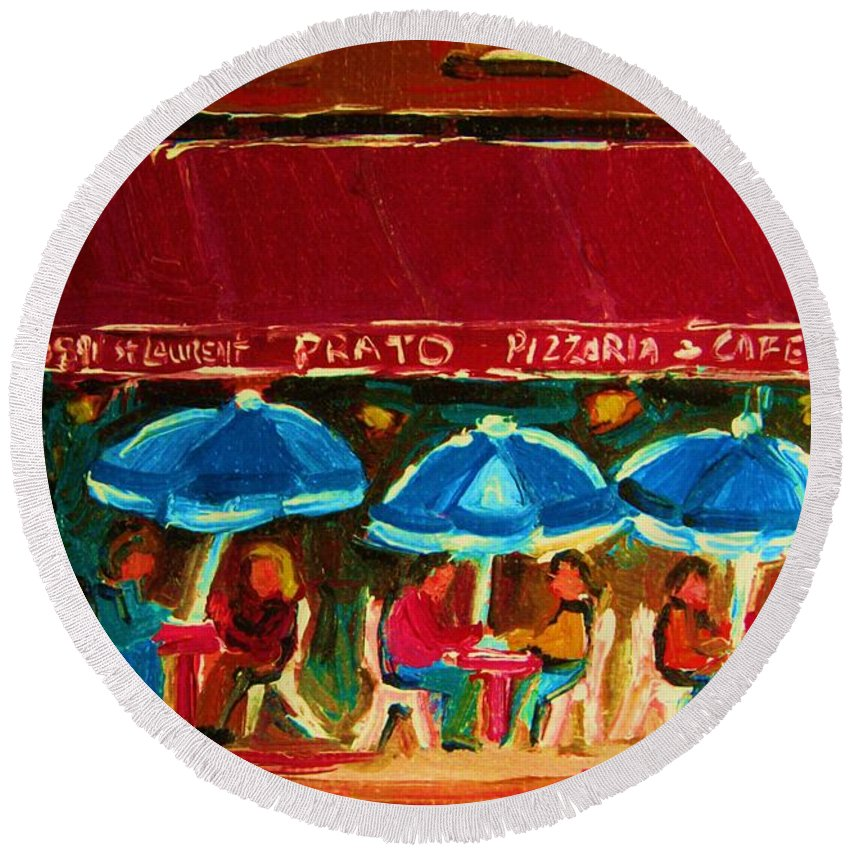Cafes Round Beach Towel featuring the painting Blue Umbrellas by Carole Spandau