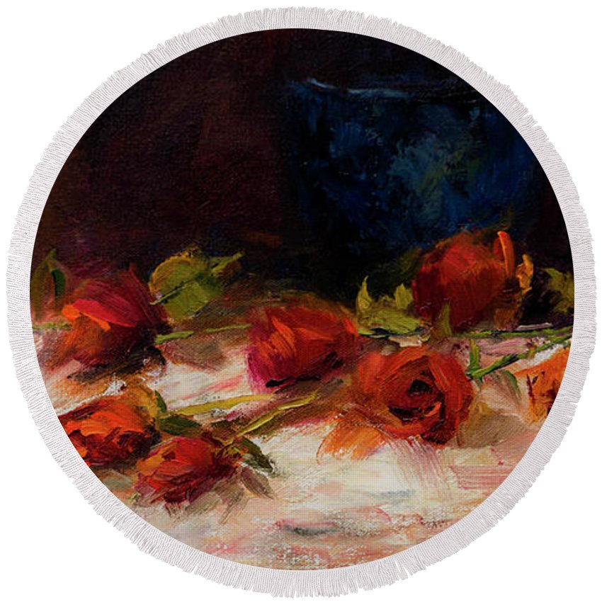 Roses Round Beach Towel featuring the painting Blue Vase And Red Roses by Laurel McFarland