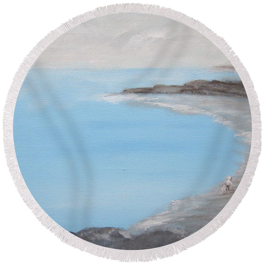 Blue Water Round Beach Towel featuring the painting Blue Water by Alina Cristina Frent