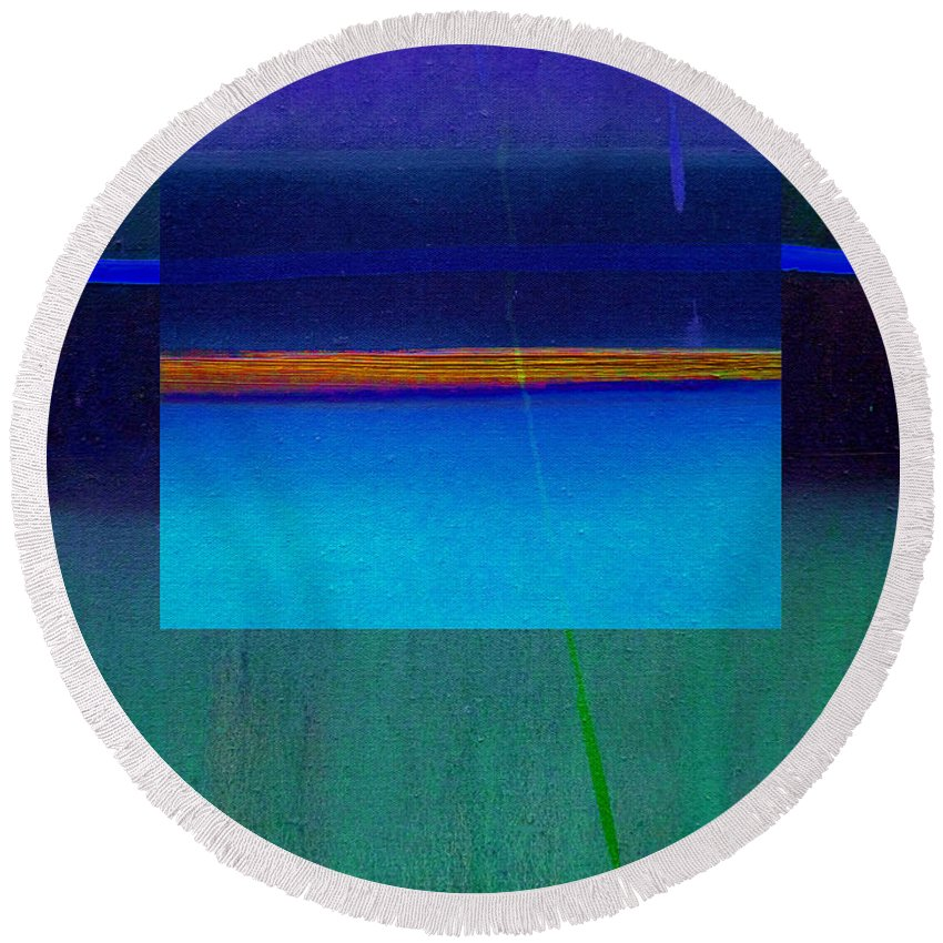 Landscape Round Beach Towel featuring the painting Blue Water by Charles Stuart