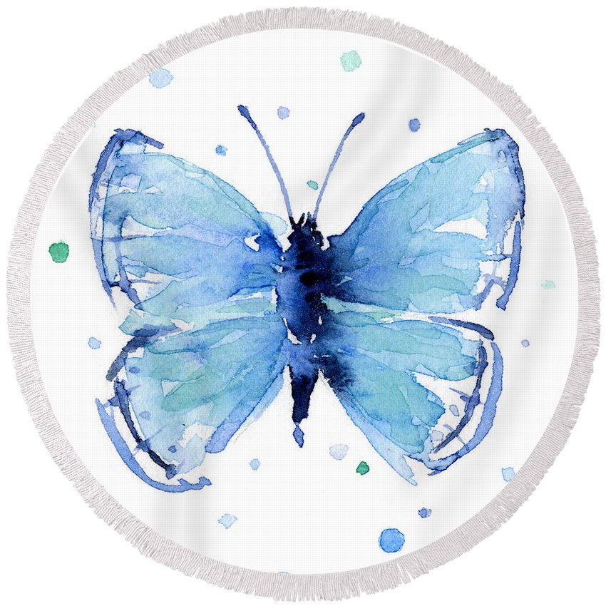 Watercolor Round Beach Towel featuring the painting Blue Watercolor Butterfly by Olga Shvartsur