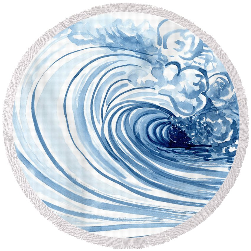 Perfect Storm Paintings Round Beach Towels