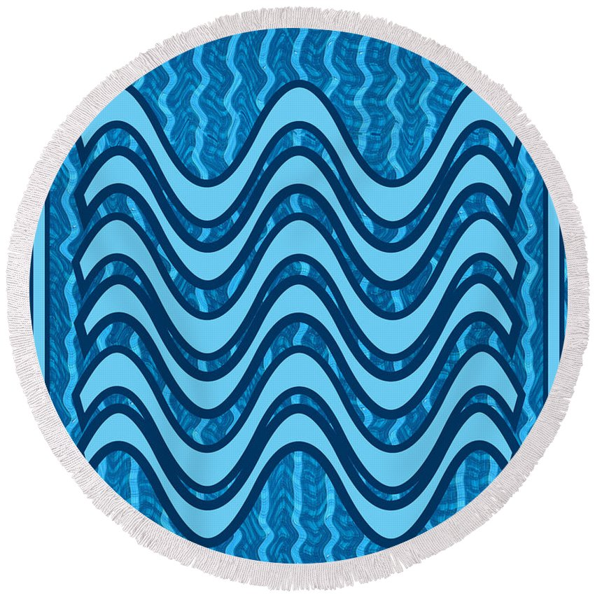 Blue Round Beach Towel featuring the painting Blue Wave Over Wave Pattern On Gifts Shirts Pillows Tote Bags Phone Cases Shower Curtains Duvet Cove by Navin Joshi
