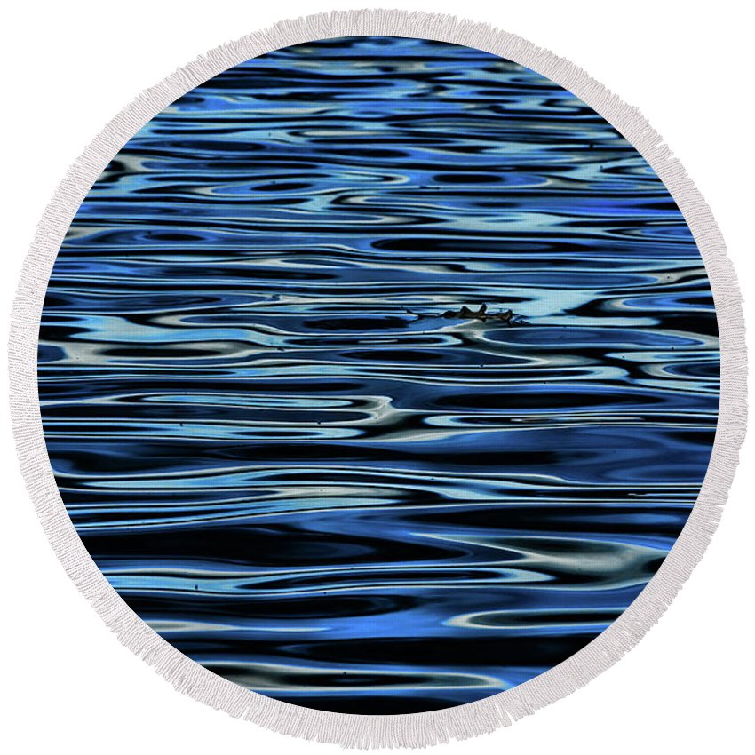 Blue Waves Round Beach Towel featuring the photograph Blue Waves by Artie Rawls