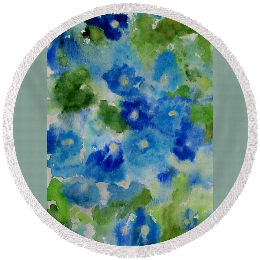 Wet Round Beach Towel featuring the painting Blue Wet On Wet by Jamie Frier