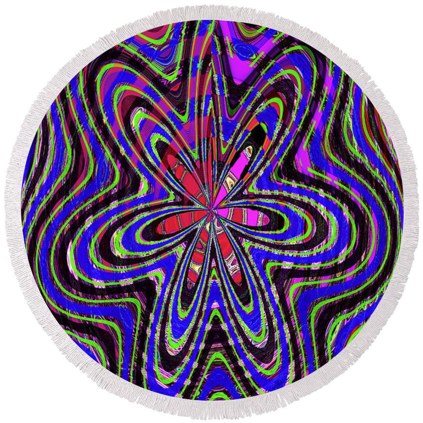 Blue White And Red Abstract #2944e2c Round Beach Towel featuring the digital art Blue White And Red Abstract #2944e2c by Tom Janca