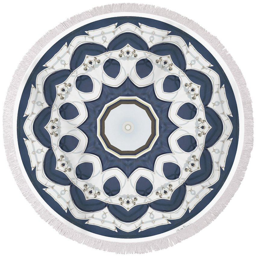 Square Round Beach Towel featuring the photograph Blue White Mandala by Betty Denise